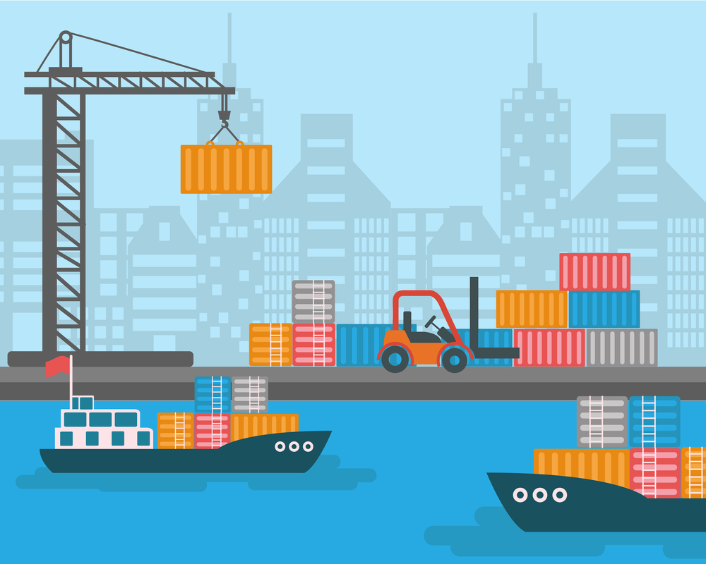 Creative vector detailed container ship at freight port terminal unloading | Merchant marine background, boat, cranes, trucks. Ideal for web site or social media network cover profile image